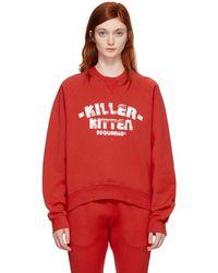 DSquared² - Red Killer Kitten Long Cool Sweatshirt - Lyst