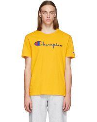 Champion - Yellow Script Logo T-shirt - Lyst