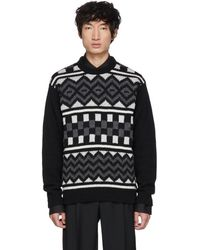 Prada - Black Patterned Crewneck Sweater - Lyst