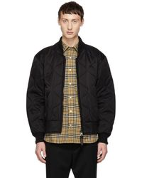 Burberry - Black Quilted Brentbury Bomber Jacket - Lyst