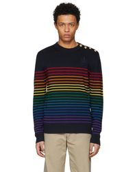 JW Anderson - Navy And Multicolor Merino Mariniere Sweater - Lyst