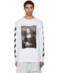 Off-White c/o Virgil Abloh - White And Black Diagonal Monalisa T-shirt - Lyst