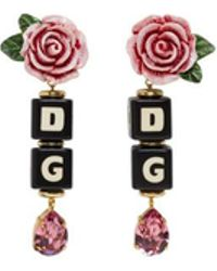 Dolce & Gabbana - Black And Pink Dg Heart Clip-on Earrings - Lyst