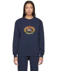 Burberry - Navy Crest Sweatshirt - Lyst