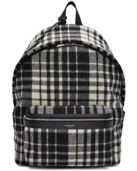 Saint Laurent - Black And White Check City Backpack - Lyst