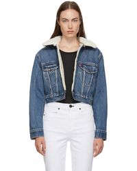 Levi's - Blue Denim Cropped Sherpa Jacket - Lyst