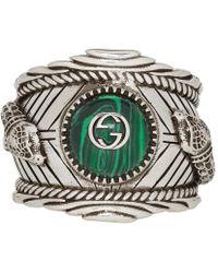 Gucci - Silver Garden Logo Ring - Lyst