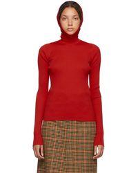 Balenciaga - Red Hoodie Turtleneck - Lyst