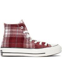 Converse - Burgundy Plaid Chuck 70 High Sneakers - Lyst