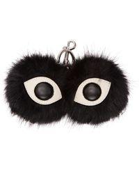 Stella McCartney - Black Faux-fur Eyes Keychain - Lyst