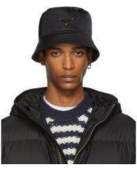Prada - Black Bucket Hat - Lyst