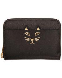 Charlotte Olympia - Black Mini Feline Zip Wallet - Lyst