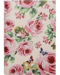 Dolce & Gabbana - Pink Floral Passport Holder - Lyst
