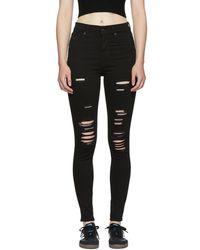 Levi's - Black Mile High Super Skinny Jeans - Lyst