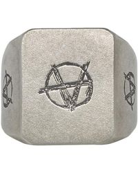 Vetements Silver Anarchy Ring - Metallic