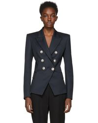 Balmain - Navy Six-button Blazer - Lyst