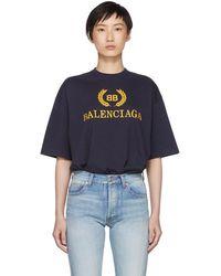 Balenciaga - Navy Bb Crown Logo T-shirt - Lyst