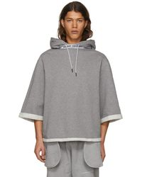 Opening Ceremony - Grey Short Sleeve Banded Hoodie - Lyst