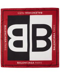 Balenciaga - Red Silk Bb Scarf - Lyst