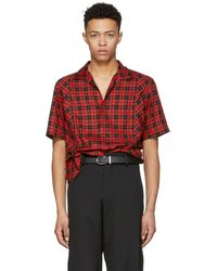 Lanvin - Red Chequered Bowling Shirt - Lyst