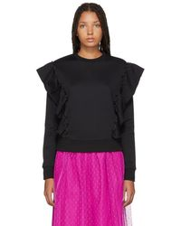 RED Valentino - Black Panelled Ruffle Sweatshirt - Lyst