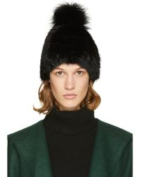 Yves Salomon - Black Fur Pom Pom Beanie - Lyst