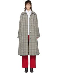 MM6 by Maison Martin Margiela - Beige And Black Oversized Check Coat - Lyst