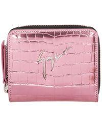Giuseppe Zanotti - Pink Croc Small Zip Wallet - Lyst