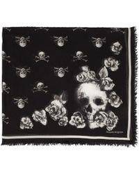 Alexander McQueen Foulard noir Rose Skull