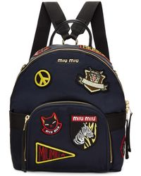 Miu Miu - Navy Patches Backpack - Lyst