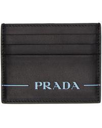Prada - Black Nappa Logo Card Holder - Lyst