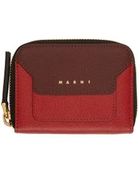 Marni - Red Small Colorblocked Zip Wallet - Lyst
