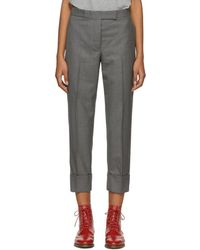 Thom Browne - Grey Classic Backstrap Trousers - Lyst