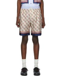 873527eb6 Gucci Stamp Silk Shorts in Natural for Men - Lyst