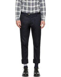 Moncler Gamme Bleu - Navy Classic Cotton Trousers - Lyst