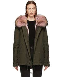 Mr & Mrs Italy - Ssense Exclusive Green And Pink Fur Mini Parka - Lyst