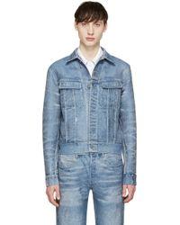 CALVIN KLEIN 205W39NYC - Blue Distressed Denim Jacket - Lyst