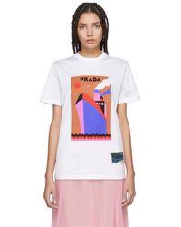 Prada - White Olimpia Saint Boat T-shirt - Lyst
