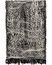 Yohji Yamamoto - Ivory & Black Wool Open Knit Stole - Lyst