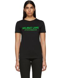 Helmut Lang - Ssense Exclusive Black And Green Logo T-shirt - Lyst