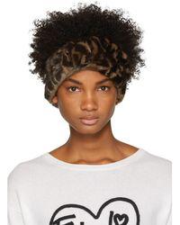 Fendi - Brown Mink Ff Logo Headband - Lyst