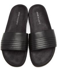 John Elliott - Black Leather Slide Sandals - Lyst