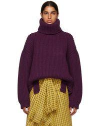 Balenciaga - Purple Ultra Rib Knit Turtleneck - Lyst
