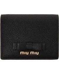 Miu Miu - Black Leather Bow Wallet - Lyst