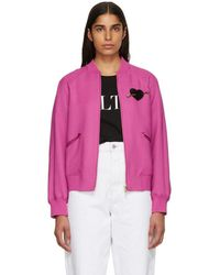 Valentino - Pink Heart Beaded Embroidered Bomber Jacket - Lyst