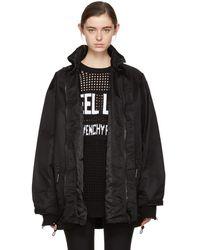 Givenchy - Black Logo Neck Windbreaker Coat - Lyst