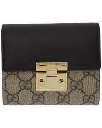 0c64c14ff71 Gucci - Beige And Black GG Supreme Padlock Trifold Card Holder - Lyst