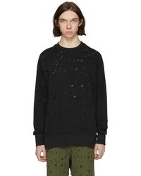 DIESEL - Black S-graham Distress Sweatshirt - Lyst
