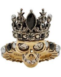 Alexander McQueen - Gold Queen Skull Ring - Lyst