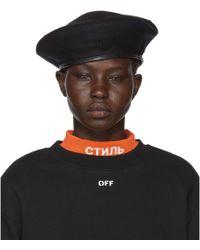 Off-White c/o Virgil Abloh - Black Logo Beret - Lyst